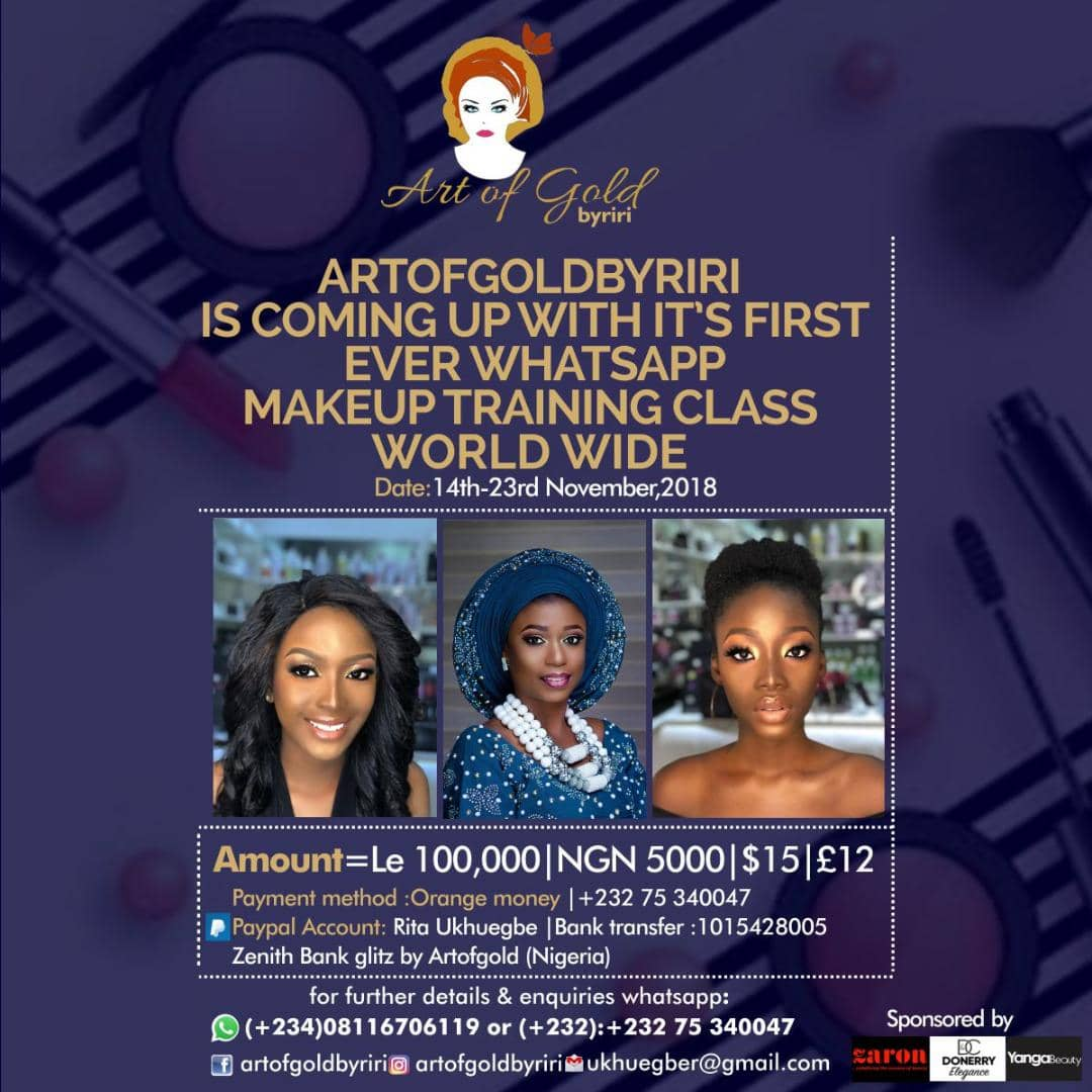Art of Gold by Riri announces first makeup training to be held on WhatsApp